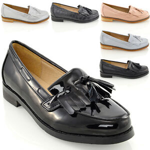 WOMENS FLAT LOAFERS CASUAL BLACK LADIES FRINDGE TASSEL WORK SCHOOL PUMPS SHOES - 0KRO6KRG5