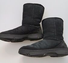 UGG Ultimate Short 5275 Black Suede Sheepskin Boots Women's Size 8