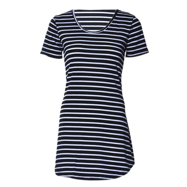 Women Casual Dress Crew Neck Short Sleeve Striped Loose T-Shirt Mini Dress AU