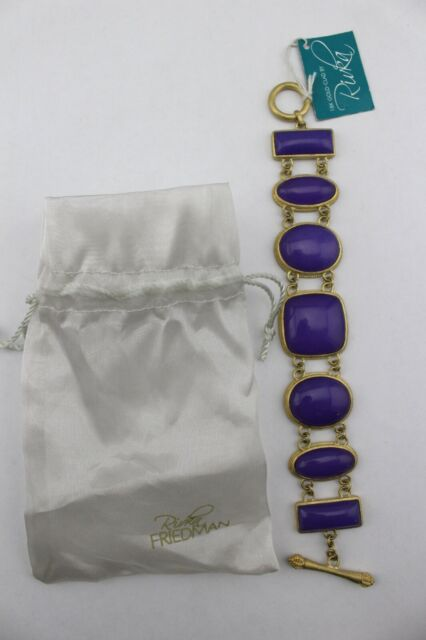 RIVKA FRIEDMAN 18K Gold Clad Tone Purple Quartzite Cabochon Toggle Bracelet New