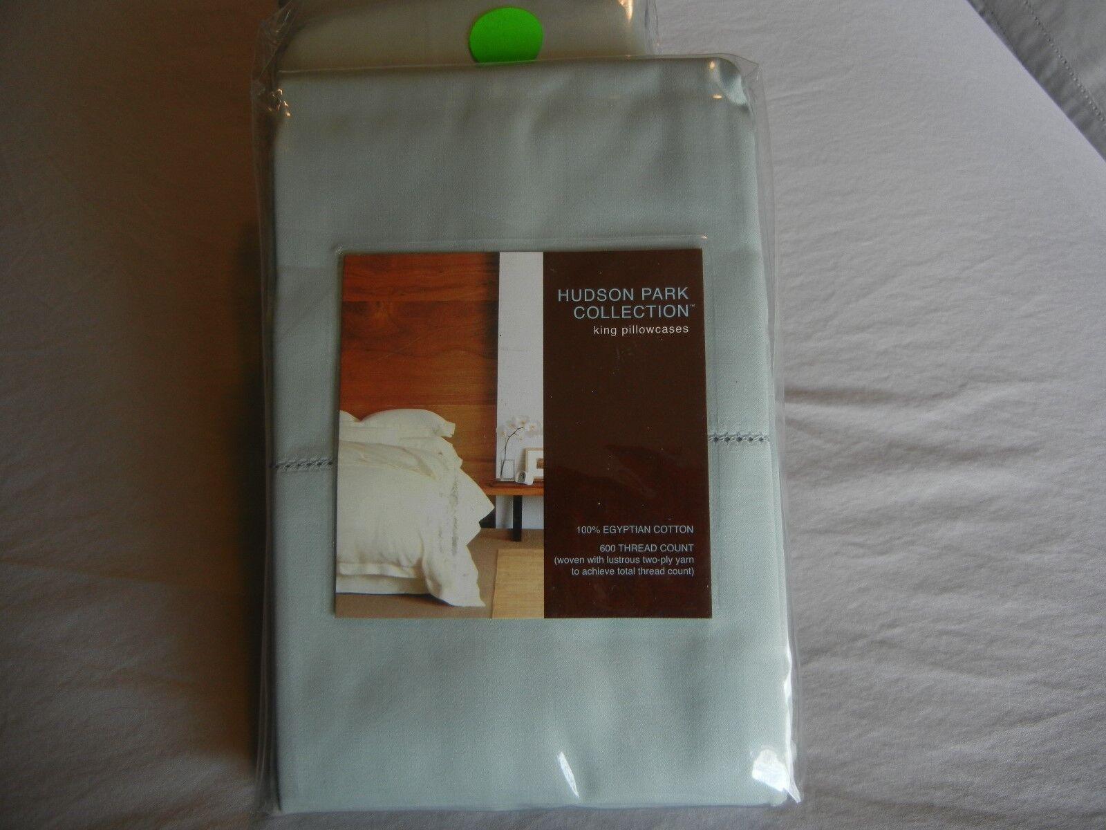 New Hudson Park 600 TC 100% Egyptian Cotton King Pillowcases Seaglass