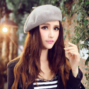 Women Plain Solid Elastic Wool Blend Beret Beanie Hats Caps For ... 888c60983da2