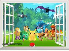 Pokemon Go Pikachu Character 3D Window Wall Decals Kids Art Stickers Mural Decor