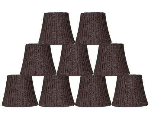 Clip On 6 inch Softback Urbanest Box Pleated Chandelier Lamp Shade,Chocolate