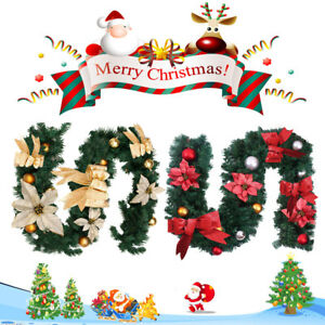 Image Is Loading Red Gold Decorated Christmas Garland Decorations Xmas Fireplace