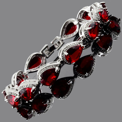 Christmas Gift Fashion CZ Pear Cut Red Ruby White Gold Plated Tennis Bracelet