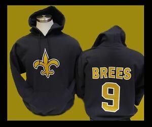 NEW ORLEANS SAINTS - DREW BREES   9 Black Hooded Sweatshirt HOODIE ... b7a7e0ccc