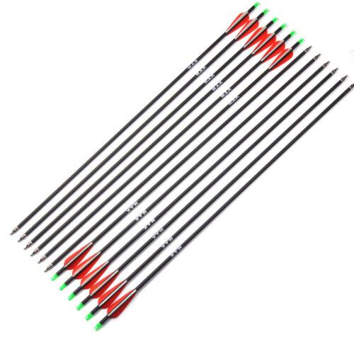 6//12//24PCS Outdoor Hunting Archery Carbon Arrow SP500 F Compound//Recurve Bow