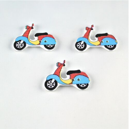 5 colours to choose from Novelty Wooden Motorbike Scooter Buttons Pack of 3