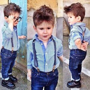 320f784e5af 2PCS Baby Boy Dress Shirt Denim Suspenders Pants Set Kids Casual ...