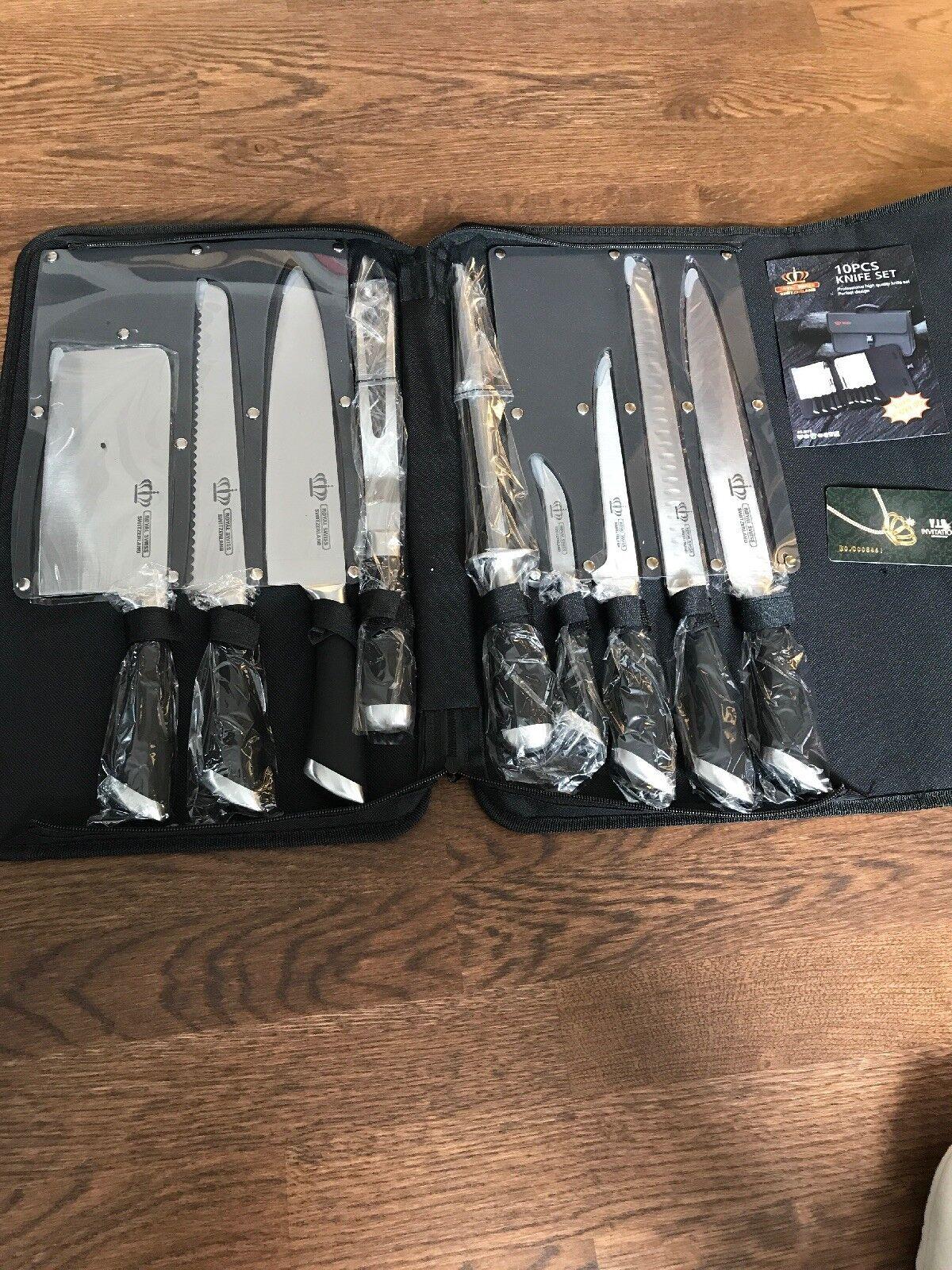 Messerset 10-tlg Royal Swiss Neu Profi Set Messer incl.Tasche Etui OVP