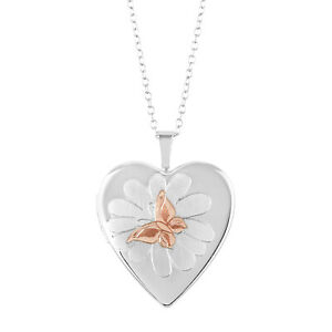 Details About Sterling Silver Heart Shape Butterflies Over Flower Fashion Locket Pendant With
