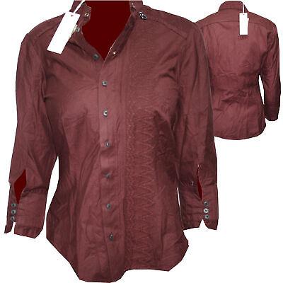 Amichevole Diesel Camicia Da Donna Camicia Bordeaux Rosso Tg. Xs Nuovo-mostra Il Titolo Originale