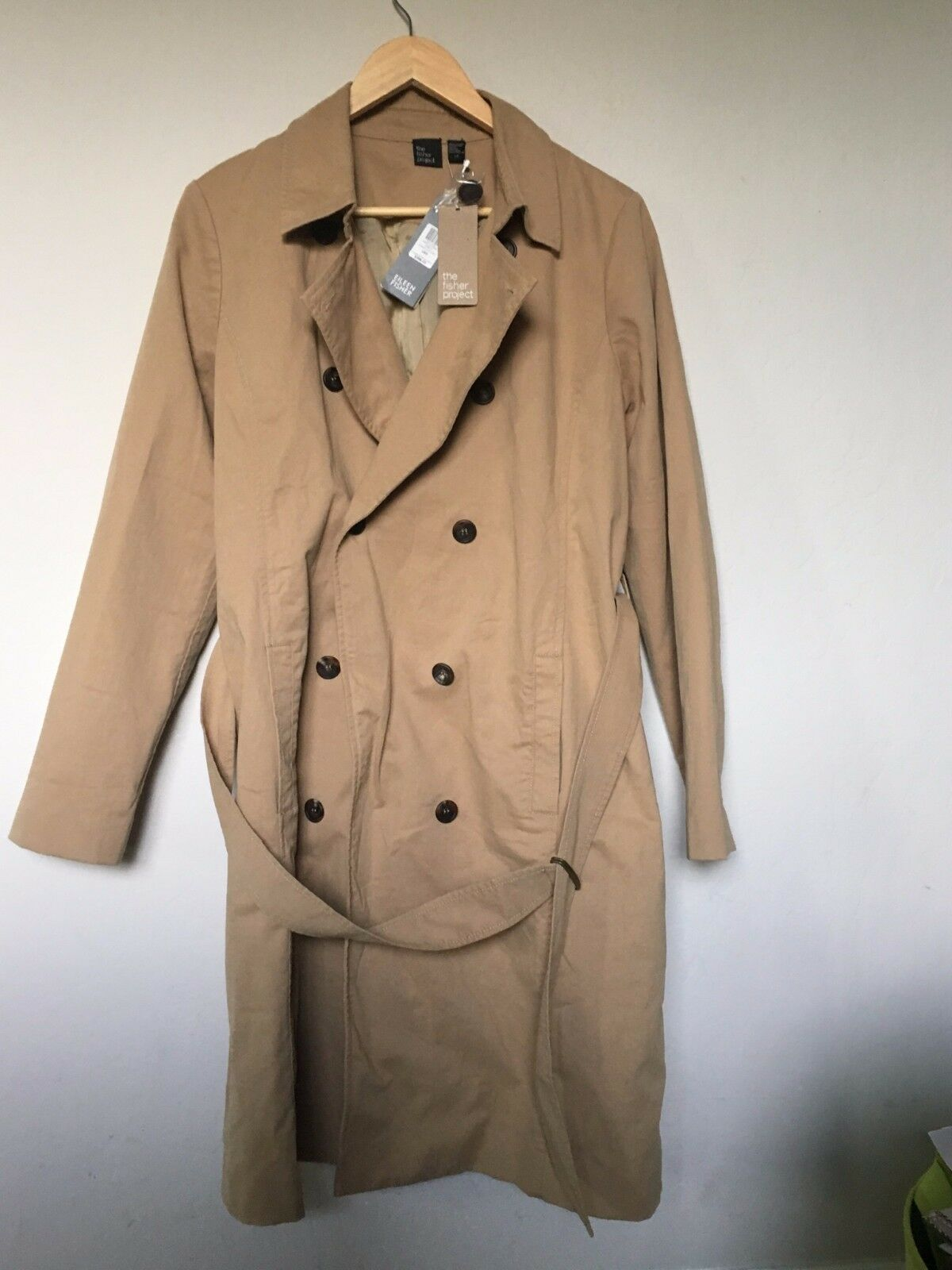Eileen Fisher Trench Coat Classic CLR Size L color Yellow Wheat New With Tags