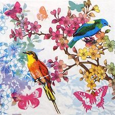 4 Single Party Paper Napkins for Decoupage Decopatch Craft Birds of Paradise