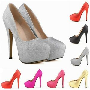 UK-Size-4-7-Women-Ladies-Concealed-Platform-Stiletto-High-Heels-Court-Shoes-N