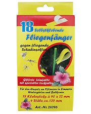 3 x 18 selbstklebende Fliegenfänger mit 4 Stäben gegen Fliegen, Insekten usw.