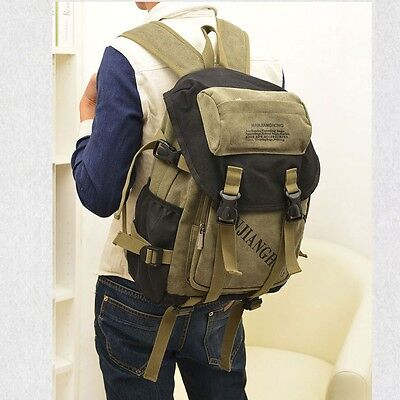 Men Women's Vintage Canvas Backpack Rucksack School Book Bag Satchel Hiking Bag