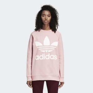 889c237e87d5 Adidas DH4432 Women Originals Trefoil Crew Sweat LS shirts pink | eBay
