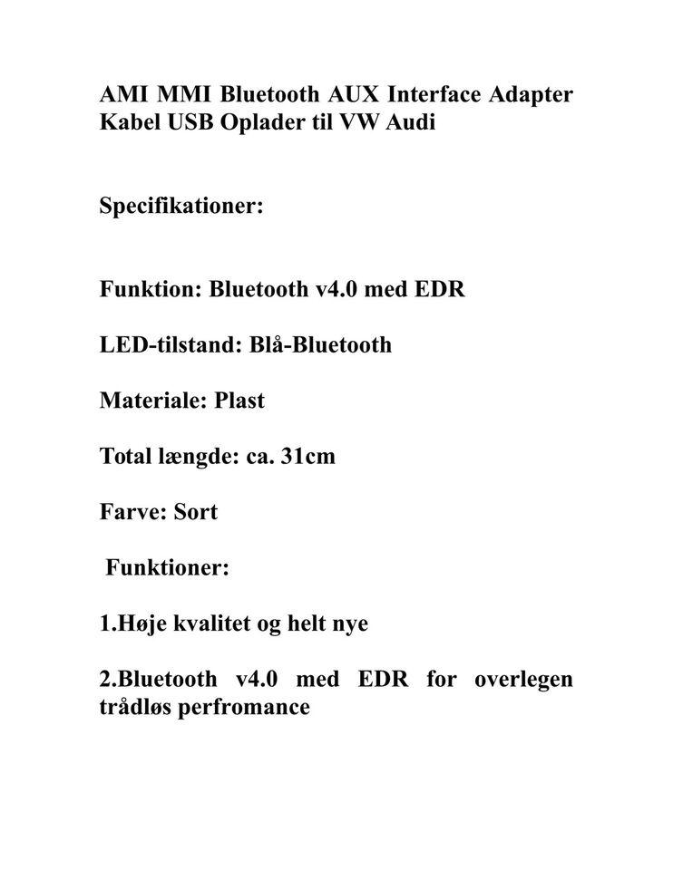 VW Audi AMI MMI Bluetooth AUX Interface Adapter