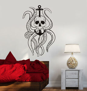 Image is loading Vinyl-Decal-Octopus-Tentacles-Skull-Anchor-Nautical-Ocean- & Vinyl Decal Octopus Tentacles Skull Anchor Nautical Ocean Wall ...