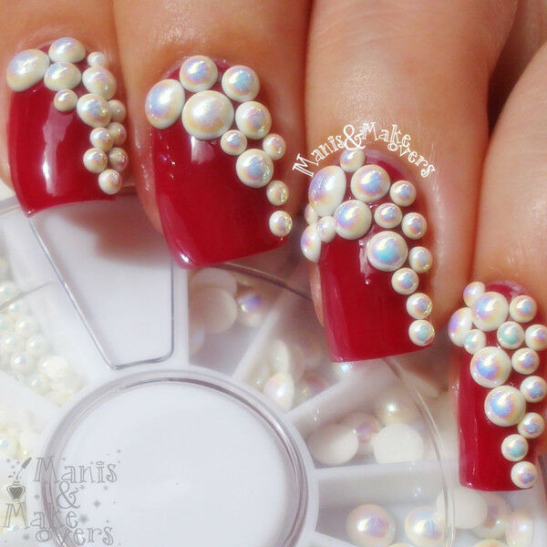2mm/2.5mm/3mm White AB Coated Round Pearl Stud Rhinestone Nail Art Decoration