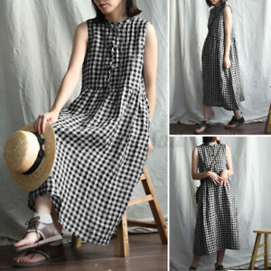 Womens Vintage Sleeveless Check Plaid Casual Loose Tunic Flare Midi Shirt Dress