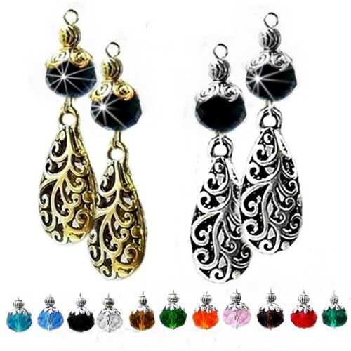Charm Necklace Earring Set choose color pearl and clip on or pierced fittings, filigree lace