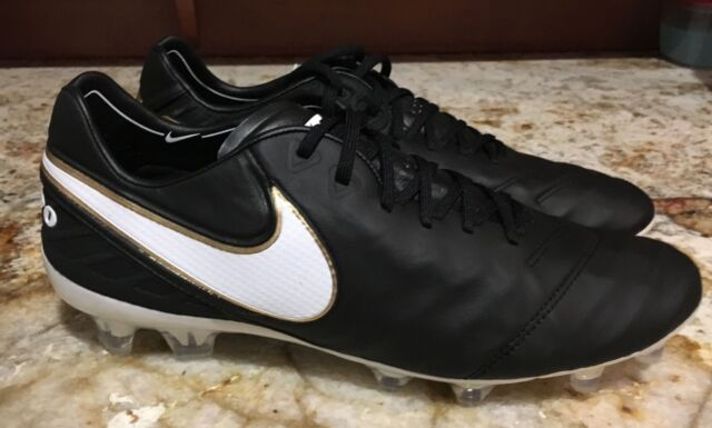 hot sales c5743 109d9 NIKE Tiempo Legend VI FG ACC Black White Gold Soccer Cleat Mens Sz 6 7.5 8  8.5 9