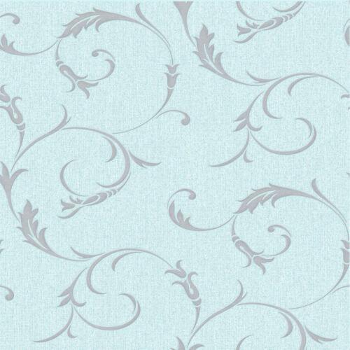Superfresco Athena Shimmer Scroll Duck Egg Wallpaper