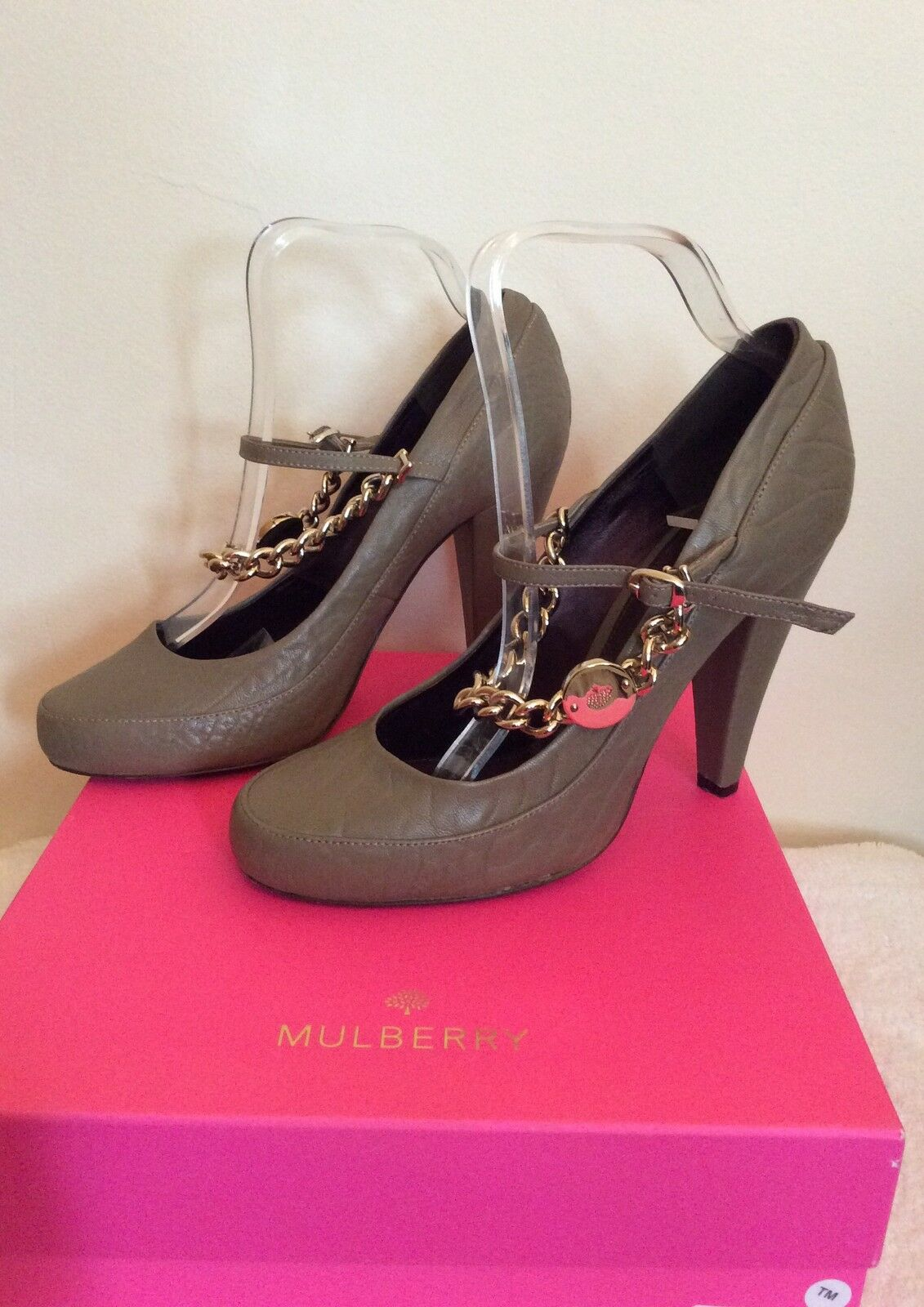 MULBERRY KHAKI/OLIVE KHAKI/OLIVE MULBERRY LEATHER CARTER CHARACTURE HEELS SIZE 7/40 WORN ONCE 2cf17e