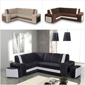 eckcouch armando mit hocker mit schlaffunktion und bettkasten farbauswahl modern ebay. Black Bedroom Furniture Sets. Home Design Ideas