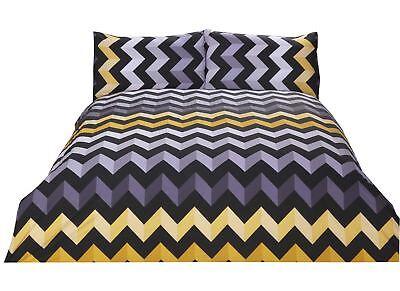 Bettwäschegarnituren PüNktlich Zig Zag Chevron Streifen Gelb Grau Baumwollmischung Einzelbett Bettbezug Feines Handwerk