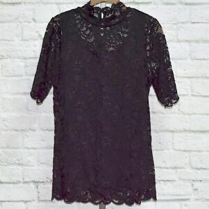 Isaac Mizrahi Live! Women's Mock Neck Short Sleeve Lace Top (Black, L) A344417