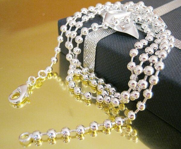 100% Wahr Kugelkette Silberkette Halskette Silber Herren Damen Kette Anhänger 40 - 60 Cm Reine WeißE