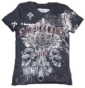 Cool AMPLIFIED THE CLASH Skull Strass Print Rock Star ViP Vintage T-Shirt g.XS