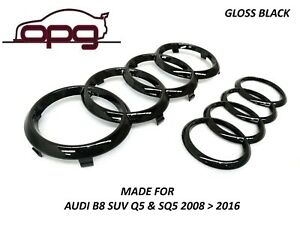 Badge-Combo-Grille-amp-Boot-Audi-Rings-for-Audi-2013-gt-2017-S5-SQ5-8r-Gloss-Black