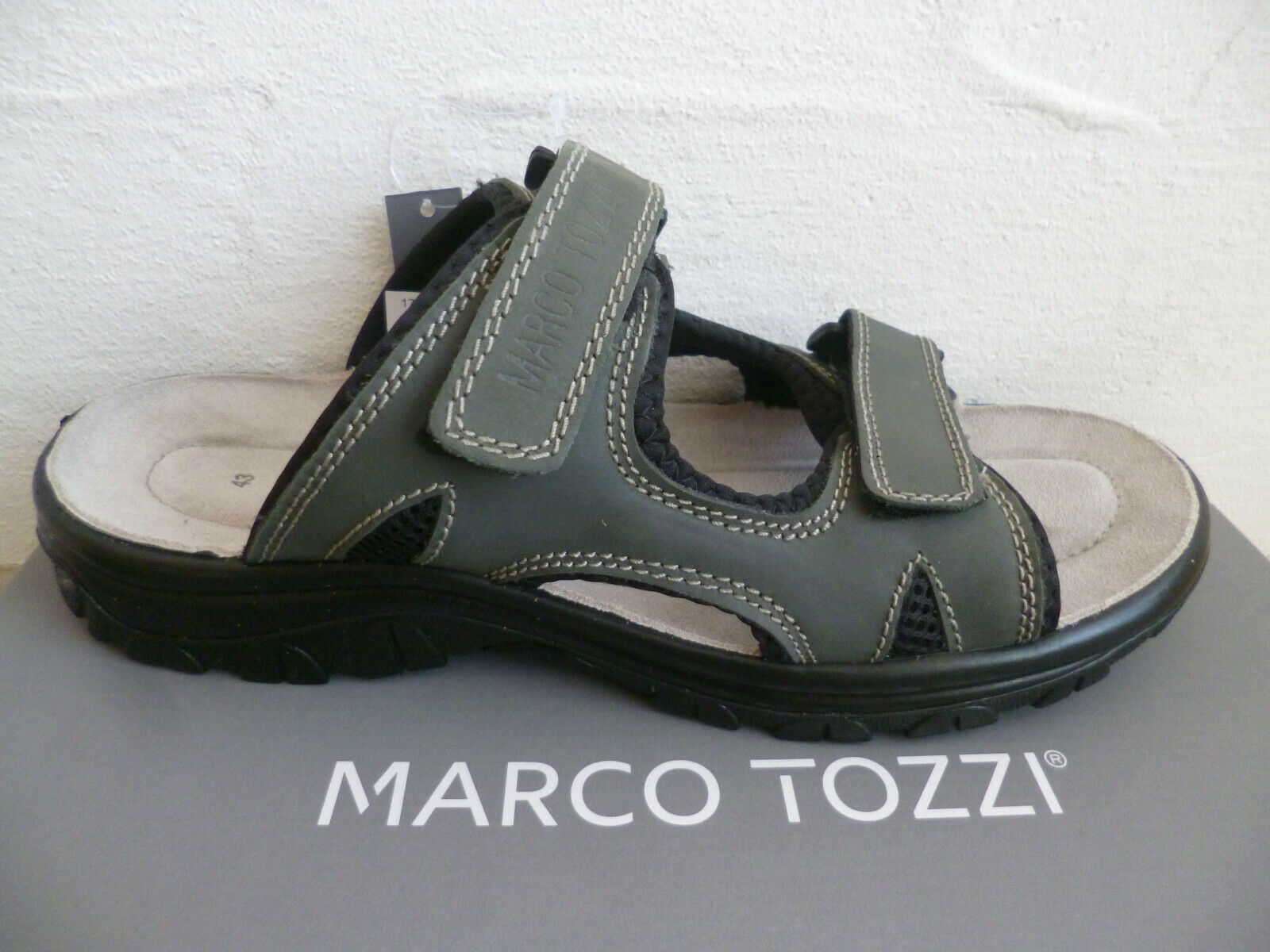 Marco tozzi mens slippers slippers clogs Genuine Leather 17400 Grey NEW