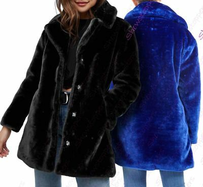 Details about Womens Faux Fur Coat Plush Longline Warm Soft Blue Black Size 10 12 14 16 8