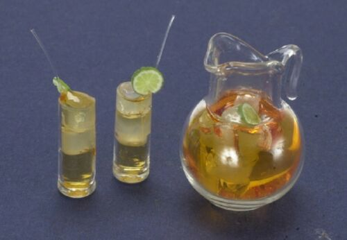Dollhouse Miniature Pitcher of Iced Tea w//Two Filled Glasses by Falcon Miniat...