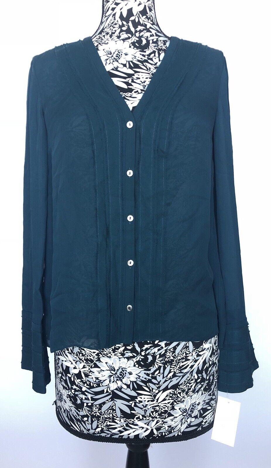 Cinq A Sept Women Top Size S NWT 100% Silk Button Down Shirt
