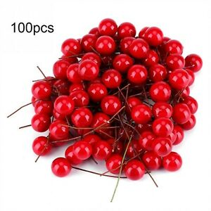 Artificial-Holly-Berry-Christmas-Fruit-Home-Foam-Decor-Mini-Red-100pcs-Ornaments