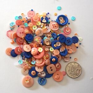 Details about NO 560 Scrapbooking -100+ Pink & Blue Buttons Beads / Sequins  - Embellishments