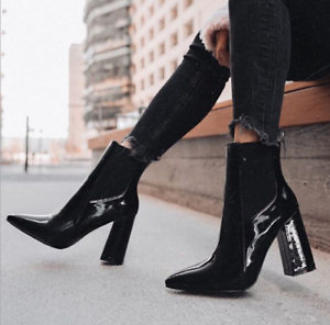 Womens-Patent-Leather-Ankle-Boots-Black-Pointed-Toe-High-Heels-Punk-Riding-Shoes