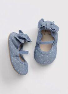 Gap Baby Girl Chambray Dot Bow Ballet