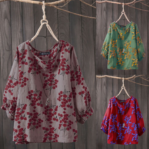 Women Long Sleeve Floral Print Casual Shirt Tops Round Neck Loose Blouse Plus