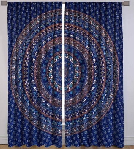 Elephant Mandala Window Door Curtains Boho Hippie Cotton Wall Hanging Tapestries