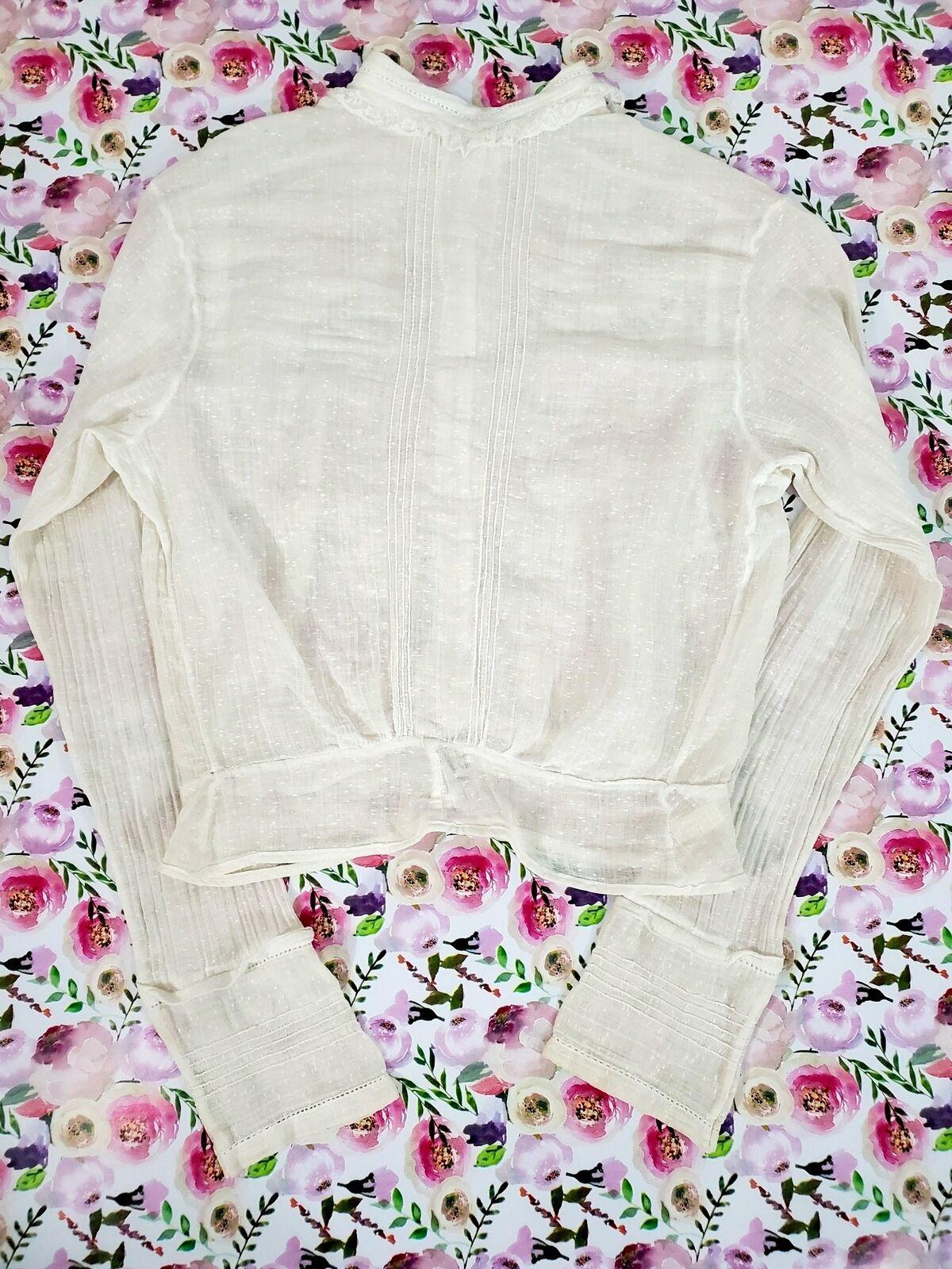 Vintage 10s Antique Cotton Blouse - xs, sm, petite - image 3