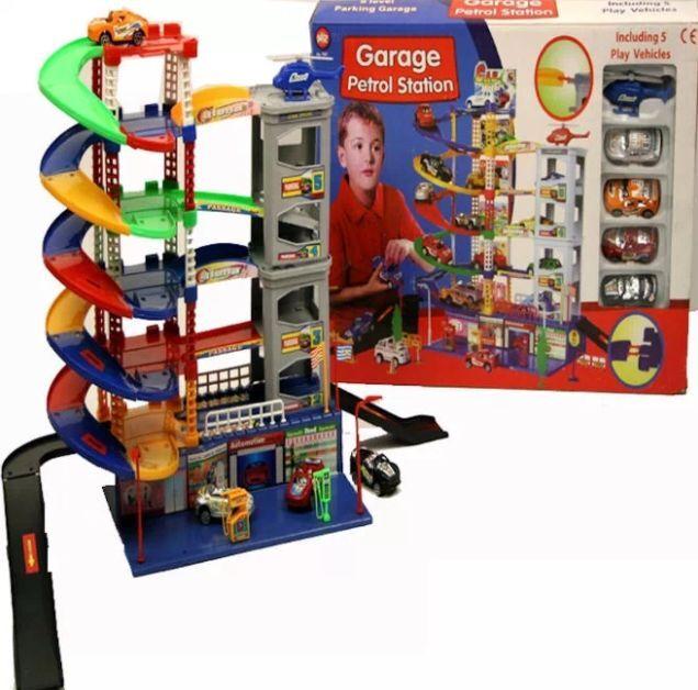 6 livello moderno Parcheggio Auto Garage benzina stazione Kids Play Set Giocattolo