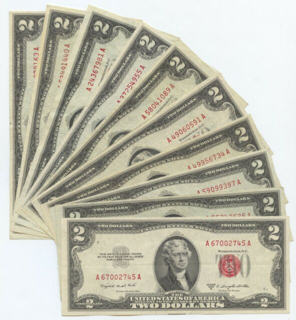 Ten mixed 1953 series $2 US Notes. Nicer notes. (#1869)